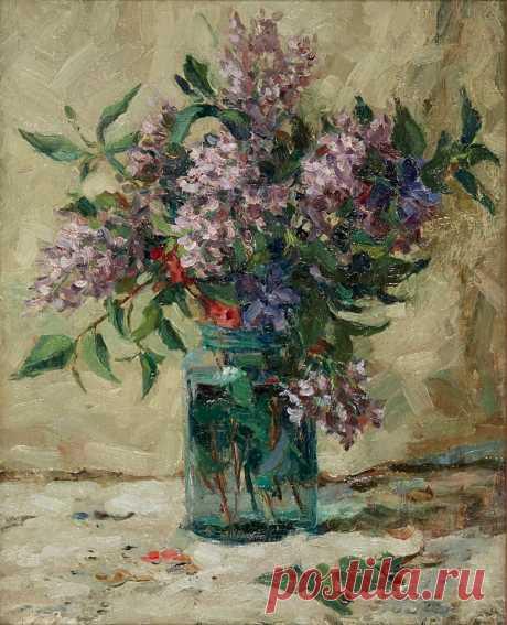 Still life. Lilacs in the Glass Can 1930 ,Aleksandr Gerasimov 1881 - 1963