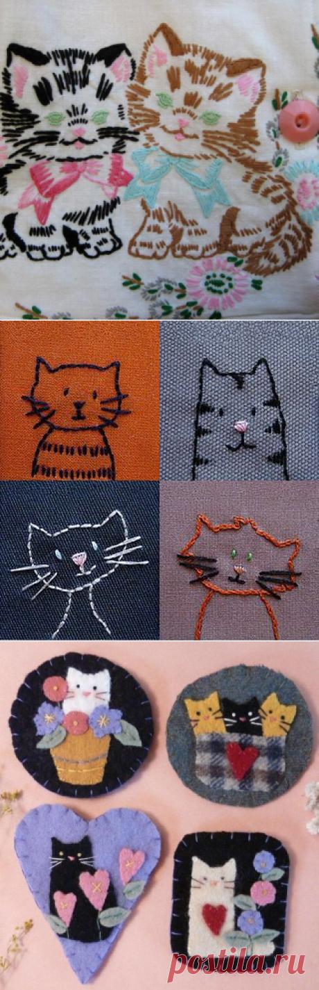 Коты для вышивки и аппликации
