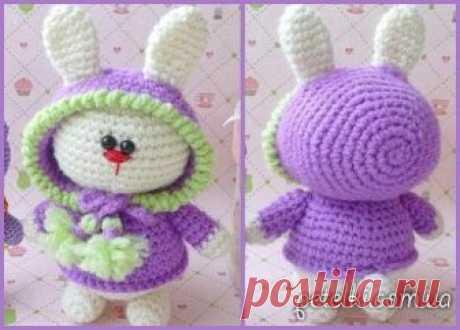 Вязание амигуруми. Модный заяц в капюшоне.