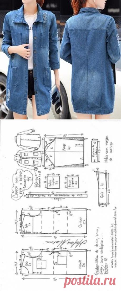Casaco com pala e bolsos externos | DIY - molde, corte e costura - Marlene Mukai