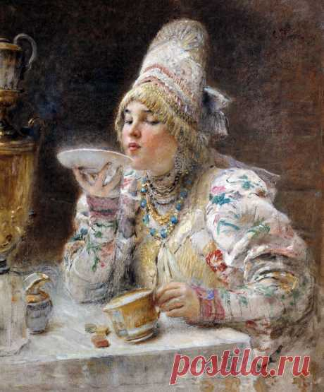 Художник Константин Егорович Маковский (1839-1915). Чаепитие