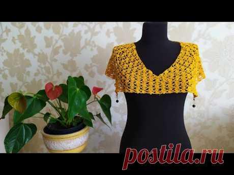 Платье крючком из желтого льна. Часть 2. Росток, вяжем ажурный узор.