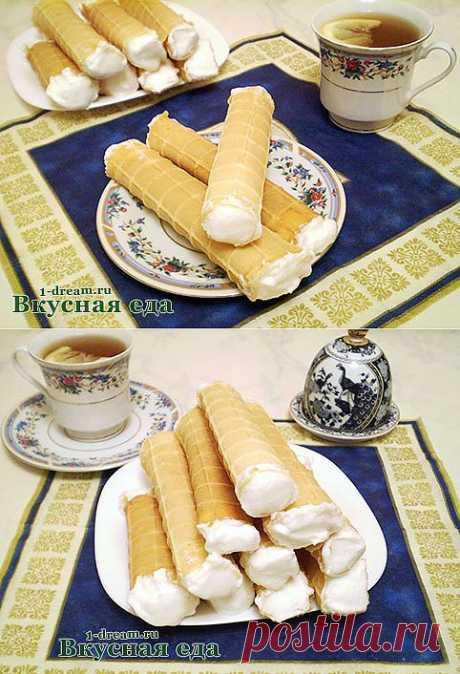 Вафли домашние - рецепт вафельных трубочек для электровафельницы - Вкусная еда
