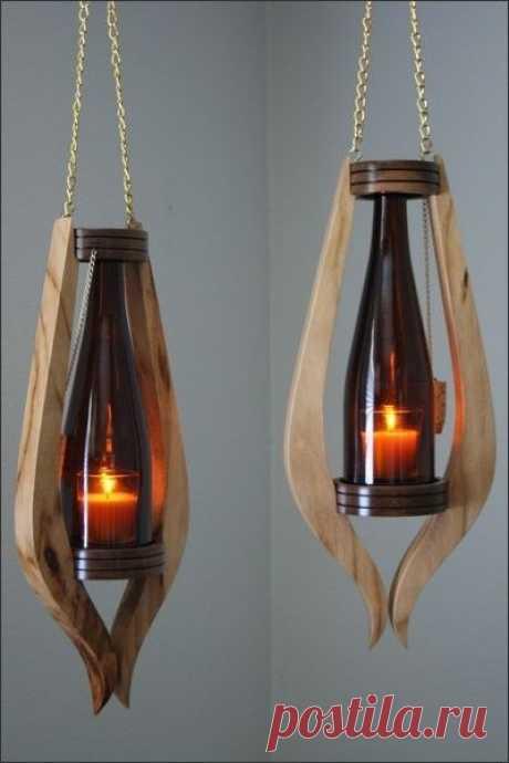 Брутальные светильники из бутылок
