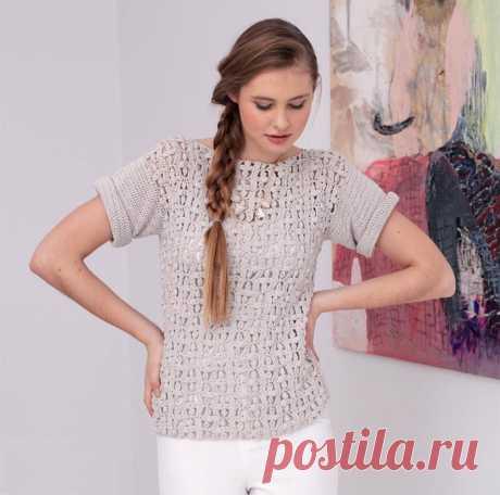 Летний пуловер с цветочным узором (Вязание спицами) — Журнал Вдохновение Рукодельницы