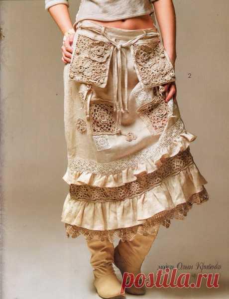 Юбка в стиле Бохо. Модель из журнала Мод Вязание № 585.  МК Ольги Кривенко. Ткань + вязание