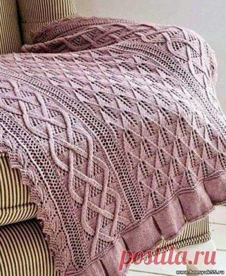 Шикарный плед благородного цвет (Вязание спицами) – Журнал Вдохновение Рукодельницы