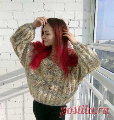 Женский объёмный тёплый свитер оверсайз из мохера – купить в интернет-магазине на Ярмарке Мастеров с доставкой - IG51ZRU   Набережные Челны