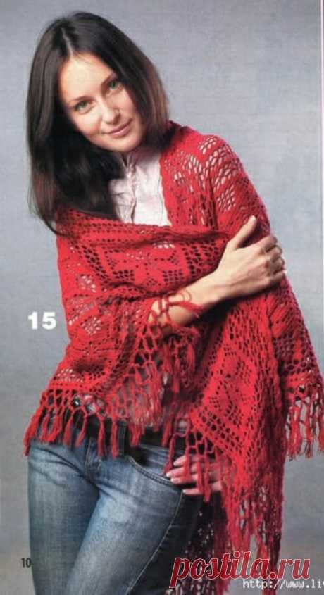 Ажурная шаль крючком. Схема. / knittingideas.ru