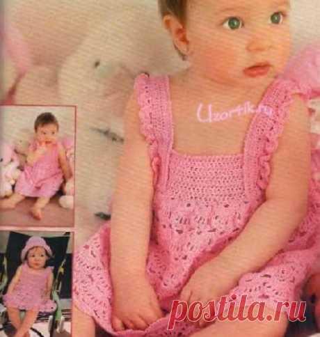 Сарафан и шляпка для девочки 1 год - Описание вязания, схемы вязания крючком и спицами | Узорчик.ру