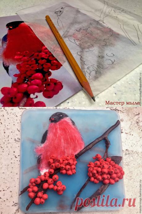 Мастер-класс смотреть онлайн: Мастер-класс по новогодней мыльной картине «Снегирь»