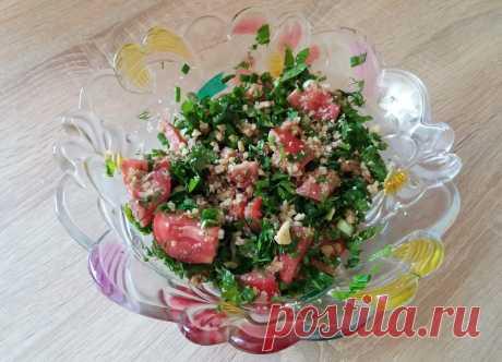 Легкий и вкусный салат по-грузински из помидоров с орехами | Вкусные рецепты