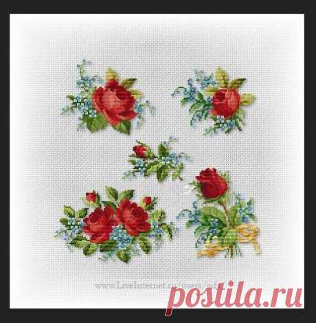 Вышивка крестом, схемы Roses мини-motive1 Викторианская ссерия