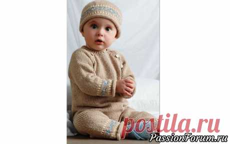 Комбинезон с длинными рукавами и застежкой в реглане   Вязание спицами для детей Вязаный спицами комбинезон с длинными рукавами и застежкой в реглане, и шапочка, на ребенка 1(3:6) месяцевВам потребуется: пряжа Bergere de France Ideal (40% шерсть, 30% акрил, 30% полиамид; 50 г/125 м) - 200(250:250) г (233.161) светло-бежевого цвета (A), по 50 г (209.331)...