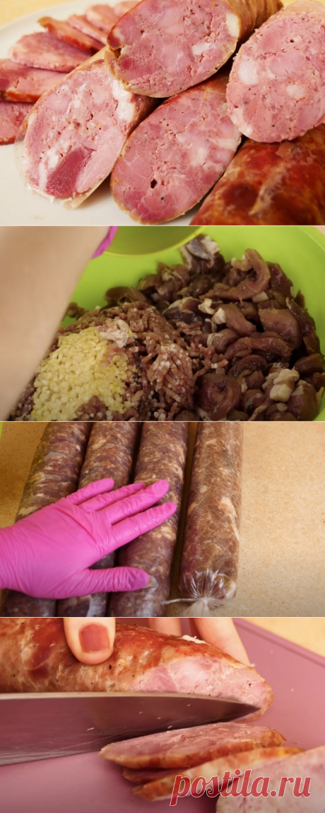 Колбасу из магазина заменили своей: берем килограмм мяса и формуем в рукаве