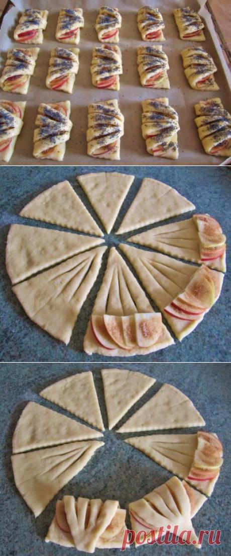 Конвертики с яблоками из творожного теста » Жрать.ру