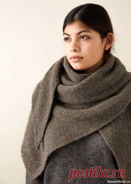 Шаль платочной вязкой Triangle Garter Wrap   Вязание шали спицами