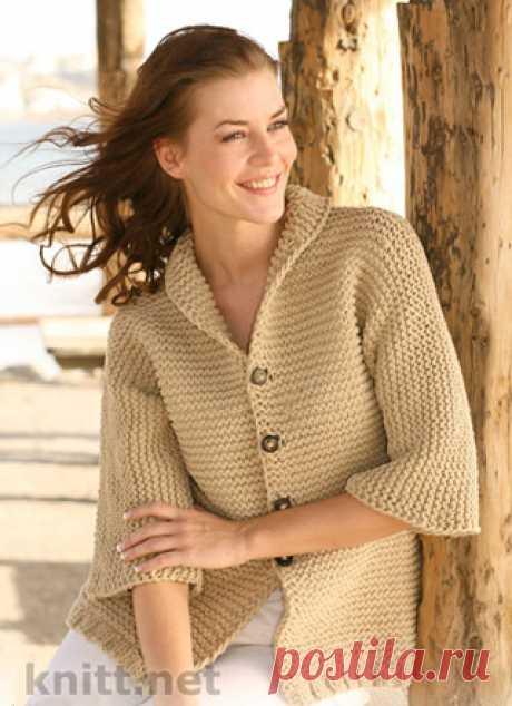Жакет платочной вязкой с рукавами ¾ Жакет связан платочной вязкой с рукавами ¾., классическая модель .