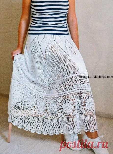 Длинная юбка крючком Длинная юбка крючком схемы. Белая женская юбка с хлопка на лето крючком