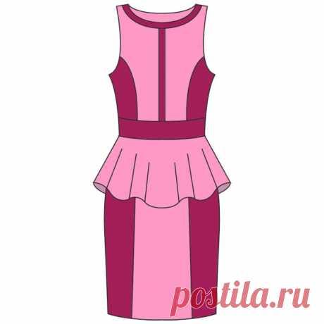Выкройка платья с баской | Шкатулка