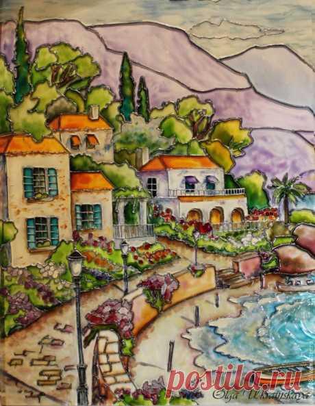 Средиземноморский пейзаж в витражной технике – Ярмарка Мастеров