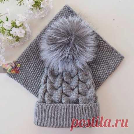 Комплект из шапки и снуда (Вязание спицами) | Журнал Вдохновение Рукодельницы