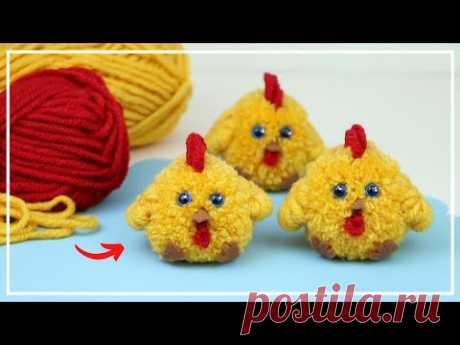 Как сделать Цыпленка из Пряжи 🐣🧶🐥 Pom Pom Chicken Making Idea - DIY NataliDoma