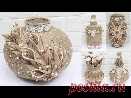 5 Jute flower vase   Home decorating ideas handmade   New 2020