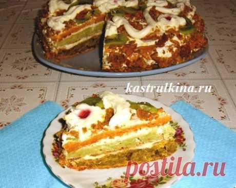 Никто не догадается, из чего сделан этот наивкуснейший тортик с разноцветными коржами.