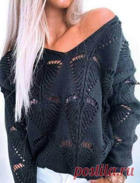 Пуловер c V-образным вырезом и красивым узором, схема