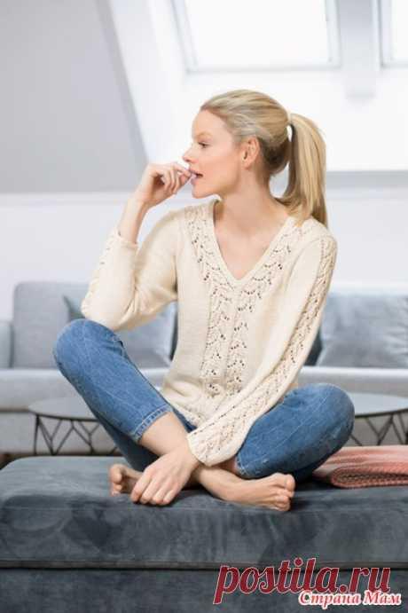 Пуловер с ажурными вставками - Вязание - Страна Мам