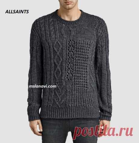 Мужской вязаный пуловер   Вяжем с Лана Ви
