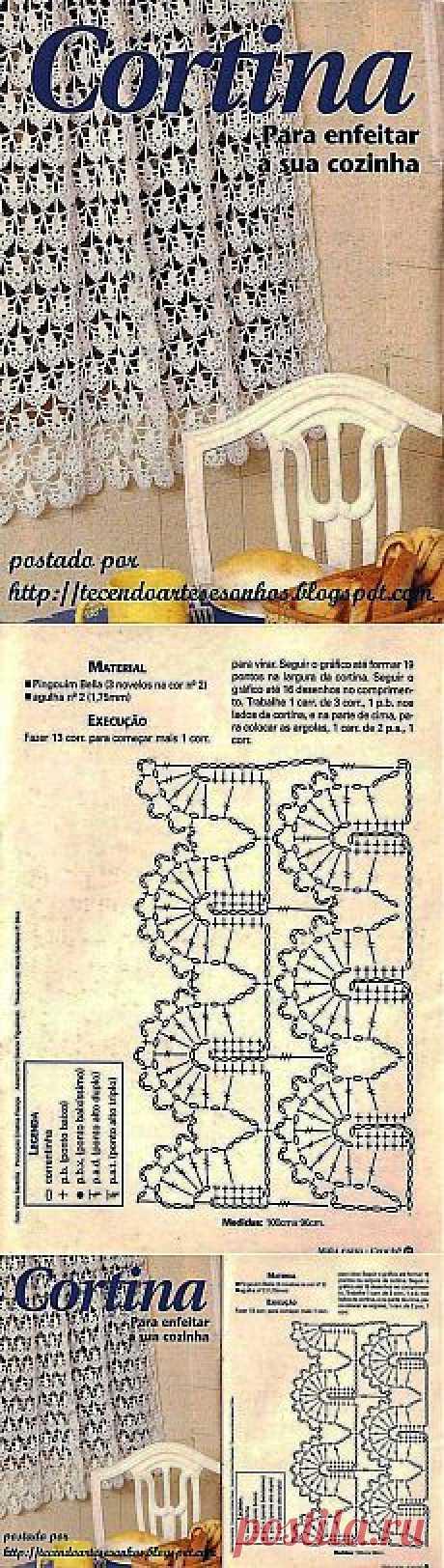АЖУРНАЯ ЗАНАВЕСКА КРЮЧКОМ.  |  Pinterest • Всемирный каталог идей