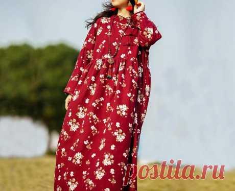 Women dark red long dress winter maxi dress warm robe   Etsy