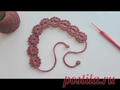 同心连花边织带,钩针一线连发带,精致而美丽