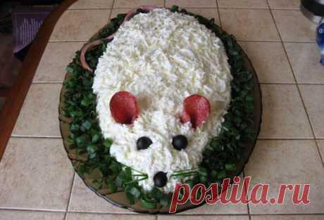 "Новогодний салат ""Белая мышка"""