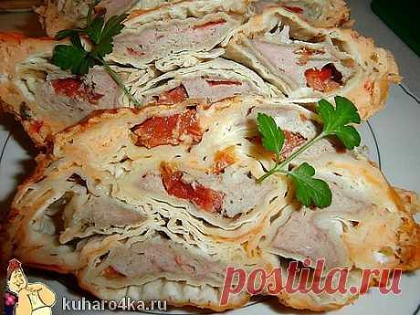 Вкусный мясной пирог из лаваша.