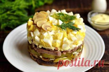 Салат с языком и грибами | Рецепты салатов и вкусняшек | Яндекс Дзен