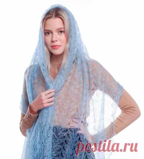 Платок Пуховый платок ручной работы палантин ажурный, голубой, 200 х 60