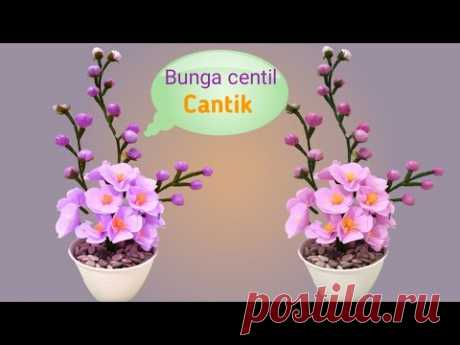 Cara cara Membuat Bunga dari plastik kresek - Bunga Centil Cantik - YouTube