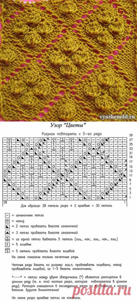 "Ажурный узор ""Цветы"" для вязания спицами - vyazhemdd.ru"