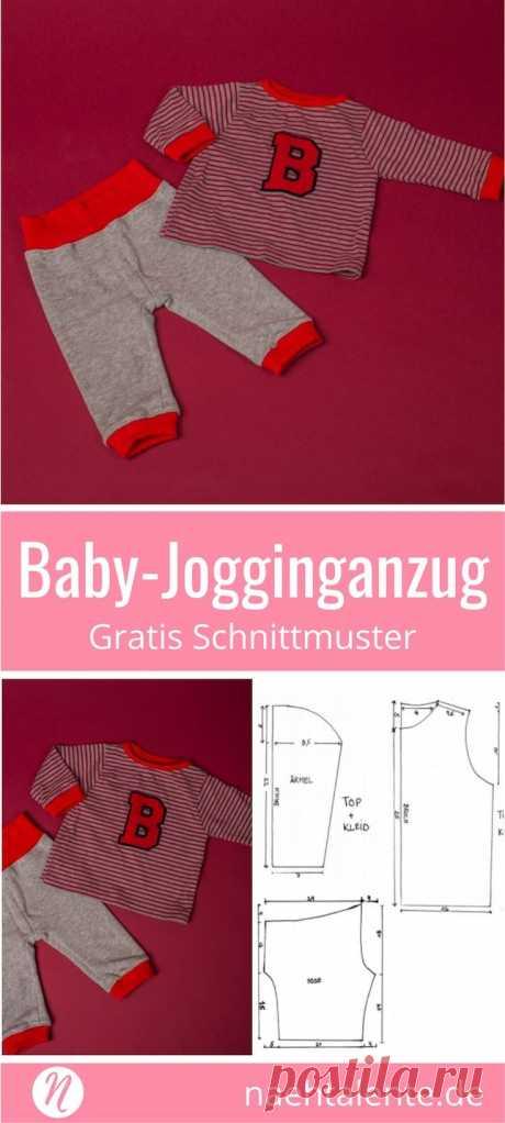 Freebook - Nähe deinen eigenen Baby-Jogginganzug mit einem einfachen Schnitt & Nähanleitung. Kostenloses Schnittmuster für 6 - 12 Monate. ✂️ Nähtalente - Das Magazin für Hobbyschneider/innen ✂️ Sew you own Baby-Jogger for 6 - 12 month. Free pdf-sewing pattern for print at home. ✂️ Nähtalente - Magazin for sewing and free sewing pattern ✂️ #nähen #freebook #schnittmuster #gratis #nähenmachtglücklich #freesewingpattern #handmade #diy via @Naehtalente