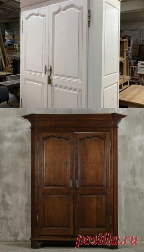 Переделка и декорирование огромного антикварного шкафа с эффектом состаривания