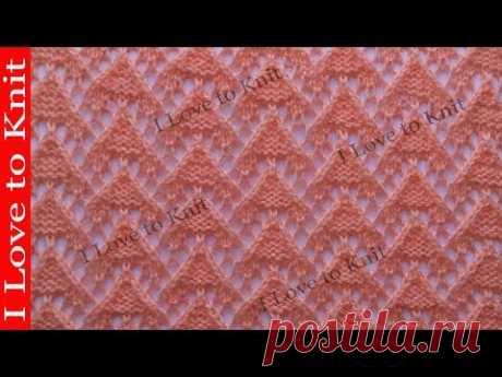 Вязание спицами со схемой и описанием Ажурные мини треугольники
