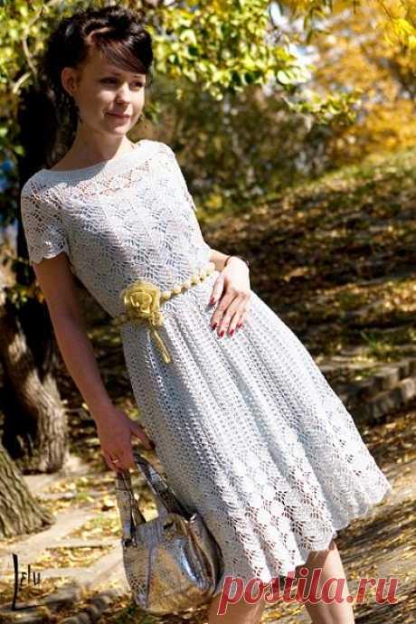 Платье вязаное крючком. Схема вязание платья крючком   Вязание для всей семьи