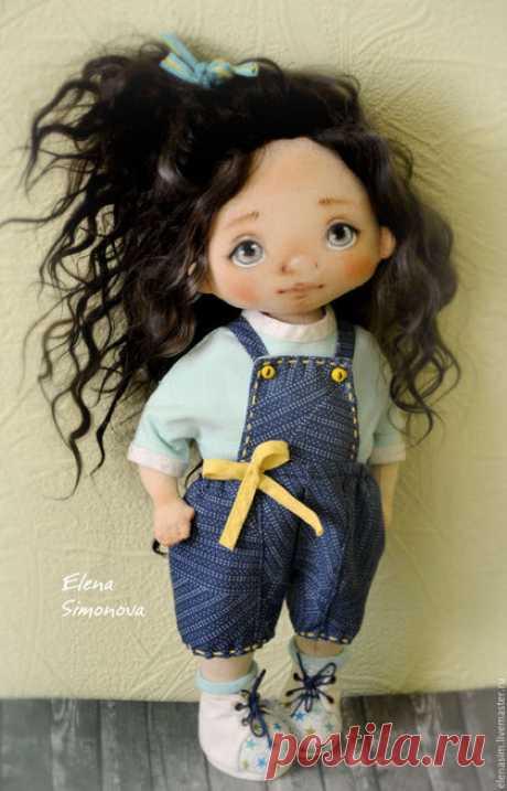 Купить Ника - голубой, коллекционная кукла, текстильная кукла, интерьерная кукла, интерьерная игрушка, тыквоголовка