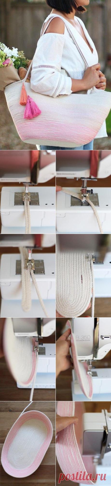 Вяжем сумку из веревки