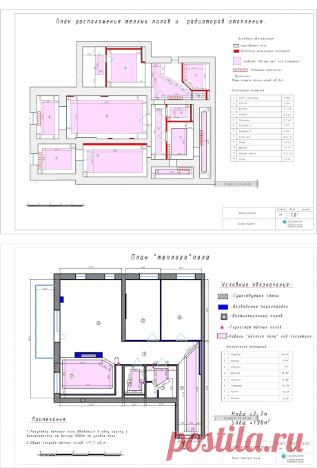 План теплых полов и радиаторов отопления - Студия Decorator