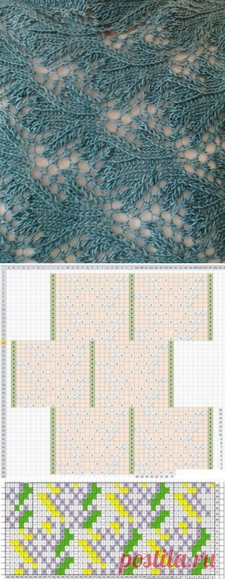 Ажурный узор спицами+СХЕМА. Коллекция бесплатных схем для вязания спицами  
