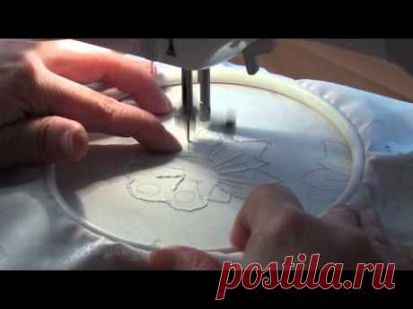 Simple example of an embroidery of the broderie anglaise - YouTube